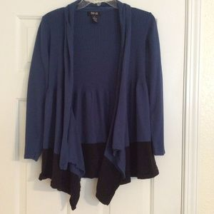 Style & Co Sweater Petite Large Aqua Blue & Black